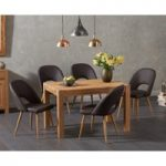 Verona 120cm Solid Oak Dining Table with Halifax Faux Leather Chairs
