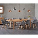 Verona 150cm Solid Oak Extending Dining Table with Oscar Fabric Square Leg Chairs