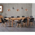 Verona 150cm Solid Oak Extending Dining Table with Oscar Faux Leather Square Leg Chairs