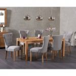 Verona 150cm Solid Oak Dining Table with Camille Fabric Chairs