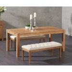 Verona 150cm Solid Oak Dining Table with Camille Cream Fabric Benches