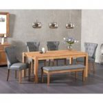 Verona 150cm Solid Oak Dining Table with Camille Faux Leather Chairs and Camille Faux Leather Bench