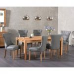Verona 150cm Solid Oak Dining Table with Camille Grey Faux Leather Chairs