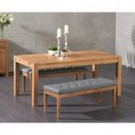 Verona 150cm Solid Oak Dining Table with Camille Faux Leather Benches