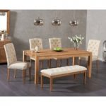 Verona 150cm Solid Oak Dining Table with Claudia Fabric Chairs and Camille Cream Fabric Bench