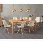 Verona 150cm Solid Oak Dining Table with Oscar Fabric Round Leg Chairs