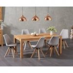 Verona 150cm Solid Oak Dining Table with Oscar Faux Leather Square Leg Chairs