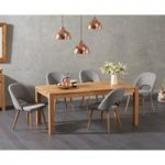 Verona 150cm Solid Oak Dining Table with Halifax Fabric Chairs