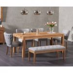 Verona 150cm Solid Oak Dining Table with Isobel Fabric Chairs and Camille Grey Bench