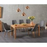 Verona 180cm Solid Oak Dining Table with Ashford Faux Leather Chairs