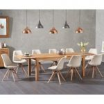 Verona 180cm Solid Oak Extending Dining Table with Oscar Fabric Round Leg Chairs