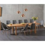 Verona 180cm Solid Oak Extending Dining Table with Ashford Faux Leather Chairs