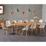 Verona 180cm Solid Oak Extending Dining Table with Duke Fabric Chairs
