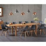 Verona 180cm Solid Oak Extending Dining Table with Duke Faux Leather Chairs