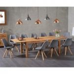 Verona 180cm Solid Oak Extending Dining Table with Oscar Fabric Square Leg Chairs