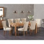 Verona 180cm Solid Oak Dining Table with Camille Fabric Chairs