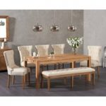 Verona 180cm Solid Oak Dining Table with Camille Fabric Chairs and Camille Cream Fabric Bench