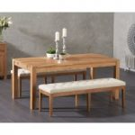 Verona 180cm Solid Oak Dining Table with Camille Cream Fabric Benches