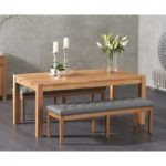 Verona 180cm Solid Oak Dining Table with Camille Grey Faux Leather Benches