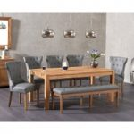 Verona 180cm Solid Oak Dining Table with Camille Grey Faux Leather Chairs and Camille Faux Leather Bench
