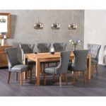 Verona 180cm Solid Oak Extending Dining Table with Camille Grey Faux Leather Chairs