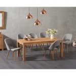 Verona 180cm Solid Oak Dining Table with Halifax Fabric Chairs