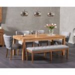 Verona 180cm Solid Oak Dining Table and Isobel Fabric Chairs and Camille Grey Fabric Bench