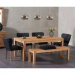 Verona 180cm Solid Oak Dining Table with Isobel Fabric Chairs and Verona Large Oak Bench