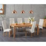 Verona 180cm Solid Oak Dining Table with Juliette Fabric Chairs