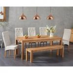 Verona 180cm Solid Oak Dining Table with Juliette Chairs and Bench