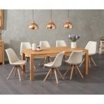 Verona 180cm Solid Oak Dining Table with Oscar Fabric Round Leg Chairs