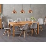 Verona 180cm Solid Oak Dining Table with Oscar Fabric Square Leg Chairs