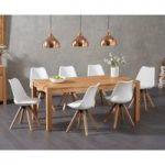 Verona 180cm Solid Oak Dining Table with Oscar Faux Leather Square Leg Chairs