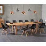 Verona 180cm Solid Oak Extending Dining Table with Oscar Faux Leather Square Leg Chairs