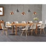 Verona 150cm Solid Oak Extending Dining Table with Duke Fabric Chairs