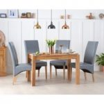 Ex-display Verona 120cm Solid Oak Dining Table with FOUR GREY Cannes Chairs