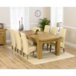 Ex-display Loire 230cm Solid Oak Extending Dining Table with FOUR CREAM Cannes Chairs