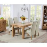 Ex-display Yateley 130cm Oak Extending Dining Table with FOUR CREAM Cannes Chairs
